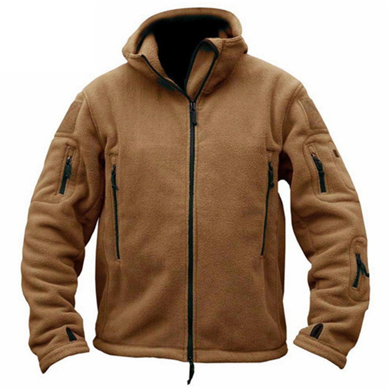 Feroni Men Military Clothing Tactical Fleece Jacket Casual Coat, Hoody Army Outwear Winter Jacket Men Casacos
