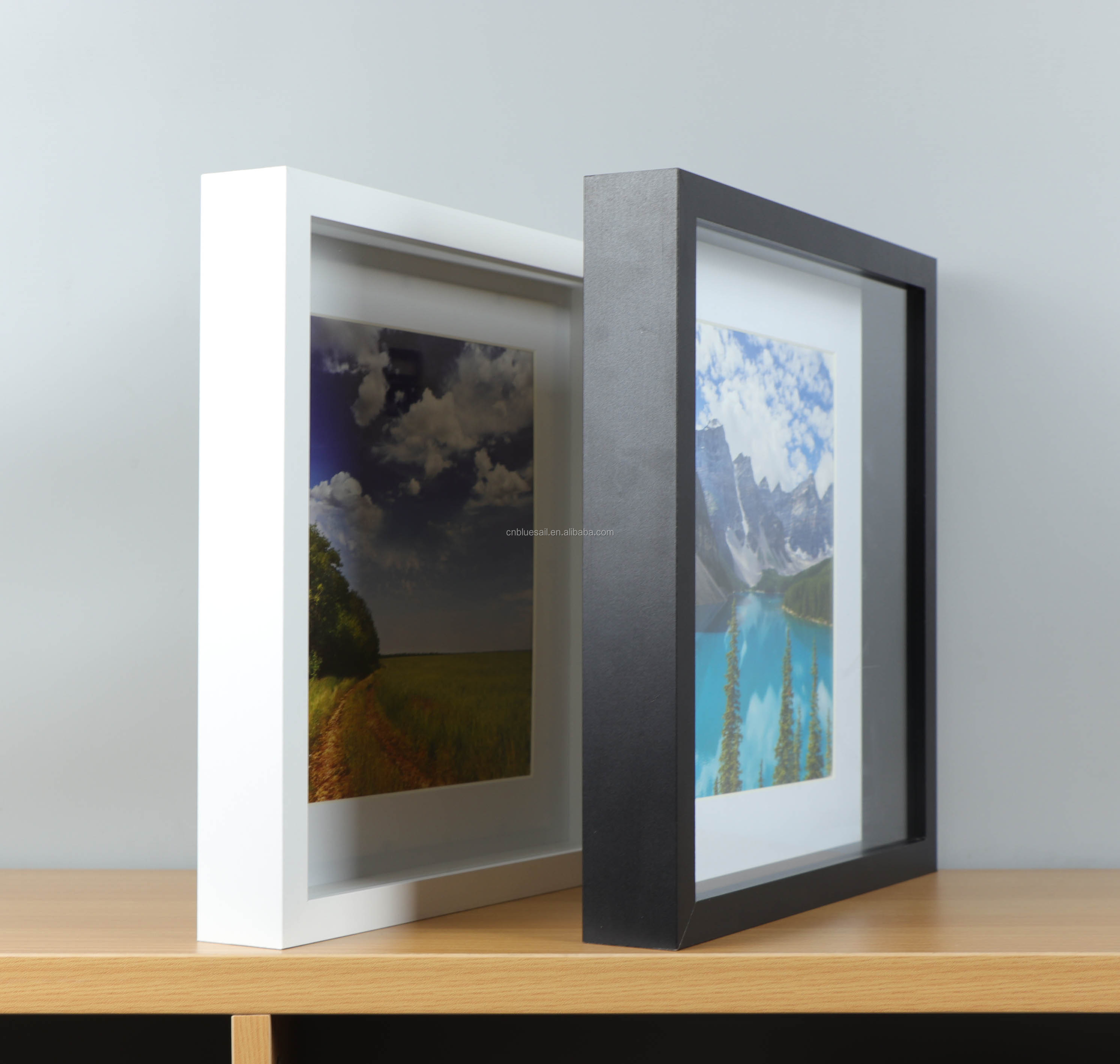 "Shadow box photo frame, 12x12"" size with 9x9"" mat, 6 colors picture frame"