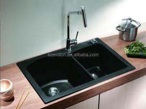 PMMA quartz black undermount corner kitchen sinks, artificial quartz  kitchen sink