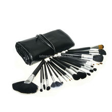 Private label makeup brush cleaning mat 24 pcs custom make up brush set with leather bag
