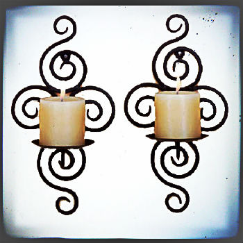 Antique Wall Mounted Wrought Iron Votive Candle Holder