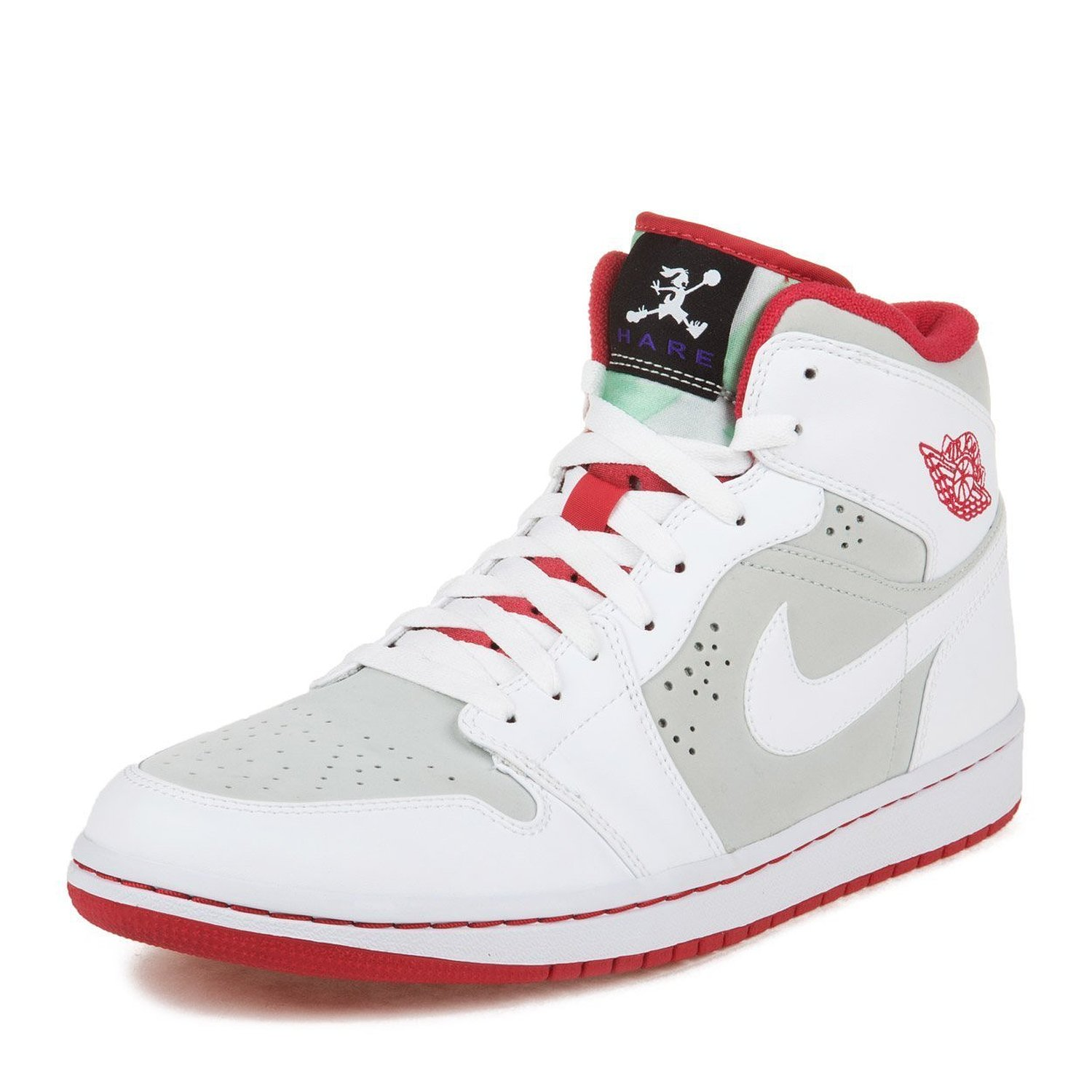 Nike Mens Air Jordan 1 Retro Hare Jordan Light Silver/White-True Red Leather Basketball Shoes Size 11