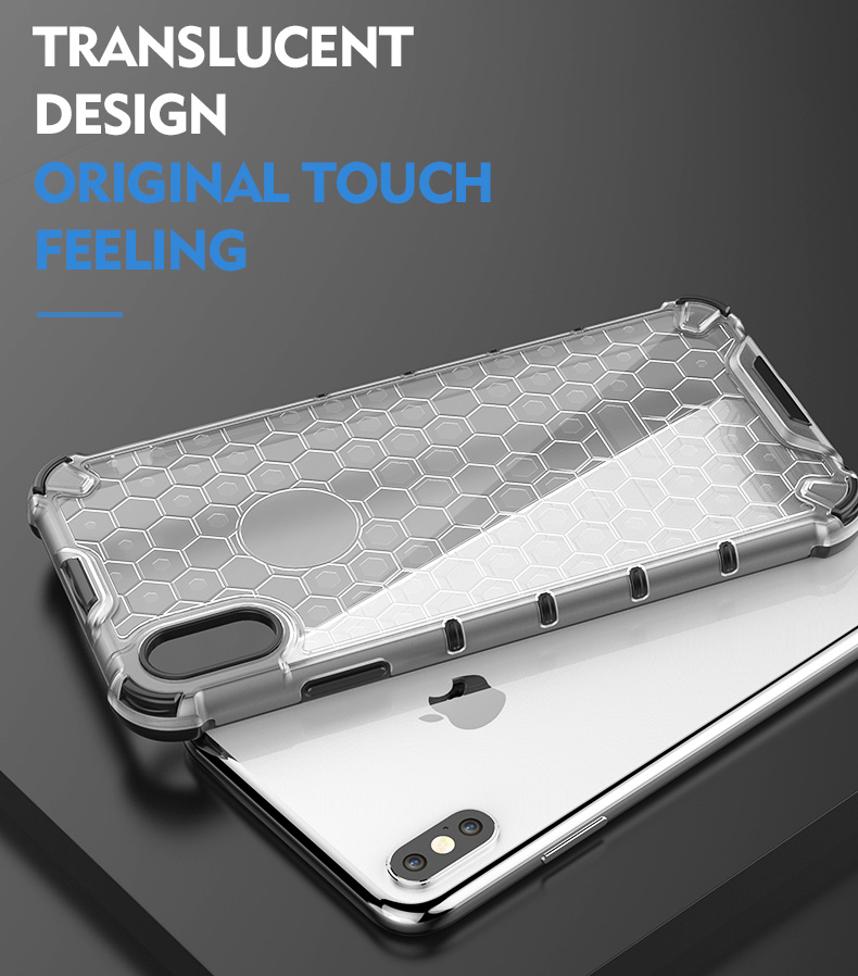 2019 New Design honeycomb tpu pc shockproof transparent  phone case For redmi note 7 clear case