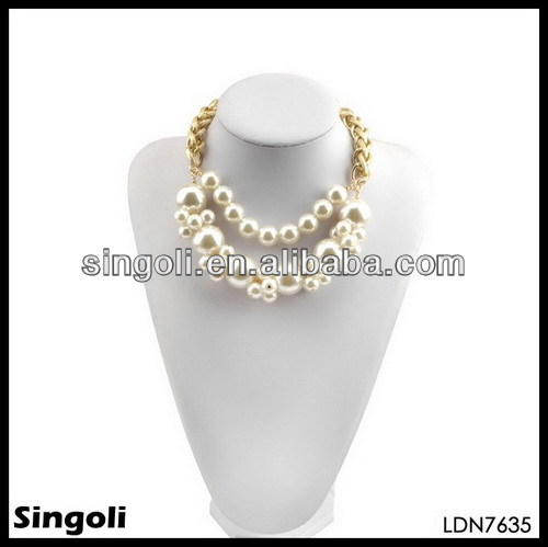 2014 vintage necklace jewelry large pearl gold chain chocker necklace jewelry