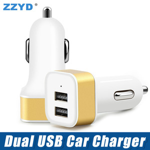 Promotion Metal 5V 2A Dual USB Port Car Charger Adapter For Mobile Phone universal car usb chargers