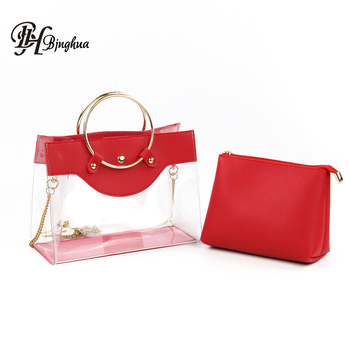 04d161569d5a Fashion Causal Clear Transparent Handbags Sets Tote Womens Purse Ladies  Clear PVC Summer Bags with Customer