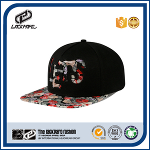 Fedora 3D embroidery custom design your own 5 panel flat brim snapback hat and cap