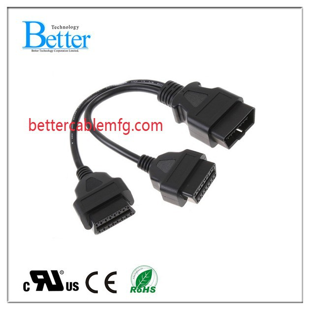 30cm OBD2 OBD II Splitter Extension Y J1962 Cable Male to Dual Female