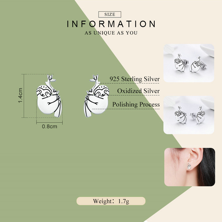 High Quality Lovely Sloth Animal Small 925 Sterling Silver Jewelry Stud Earrings
