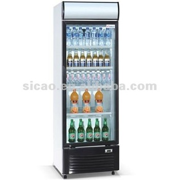 500L 1 Glass Door Beverage Display Refrigerator Freezer , Supermarket Vertical Stainless Steel Can&Bottle Showcase Cooler