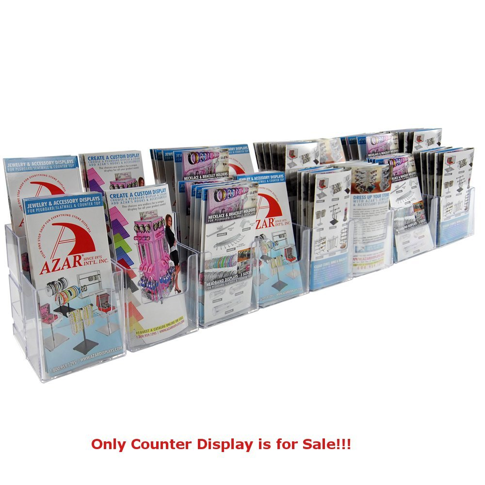 """Clear 16 Pockets 2 Tier Tri-Fold Brochure Counter Display 37.875""""Wx3.75""""Dx7""""H"""