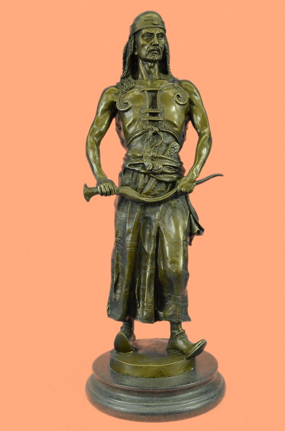...Handmade...European Bronze Sculpture Signed Goudray L'Emir Nomadic Arab Middle Eastern Chief Sword (1X-STE-269) Bronze Sculpture Statues Figurine Nude Office & Home Décor Collectibles Sale Deal Gi