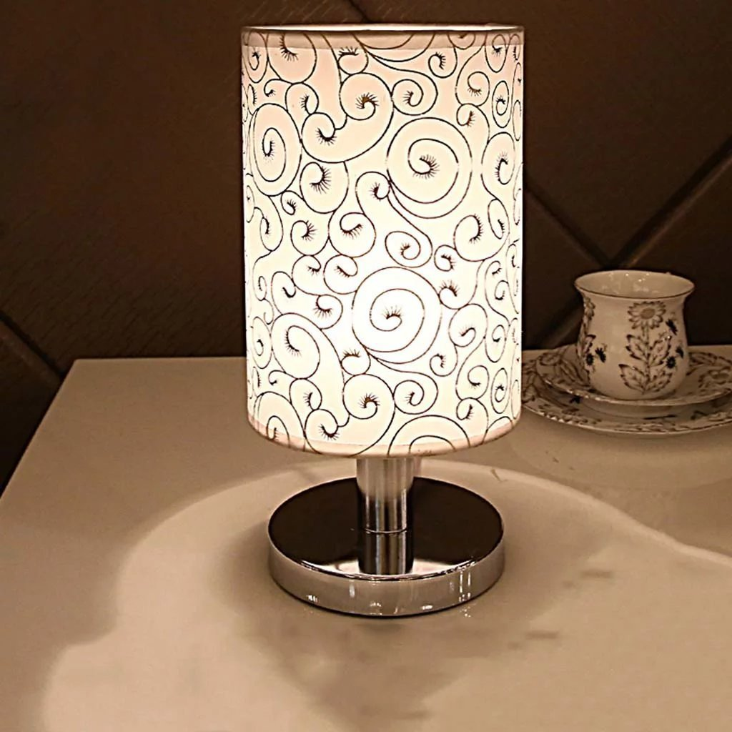 Get Quotations · Creative Metal Base Push Button Switch Table Lights E27  Fabric Shade Desk Lamps