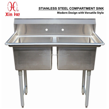 Freestanding Restaurant Kitchen 2 Two Compartment Commercial Stainless  Steel Sink For US Catering