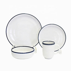 Ceramic tableware concise style 16 pcs crockery dinnerware sets with blue rimmed