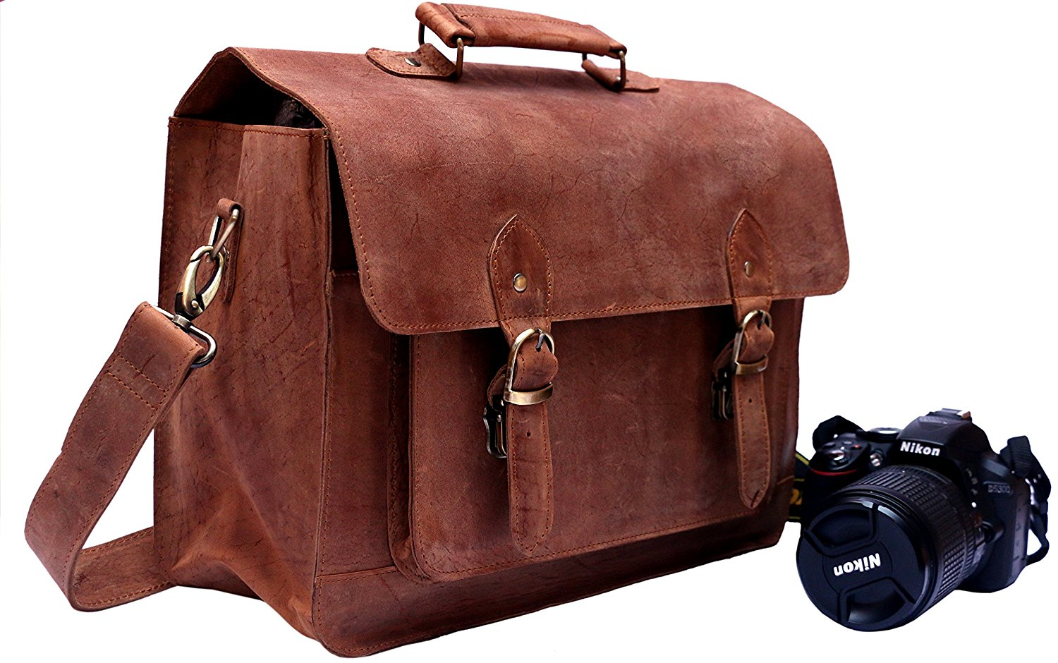 FeatherTouch Leather Handmade Vintage Style Camera Bag / Messenger bag / Camera Briefcase Camera Bag 15X10X6 Inches Brown