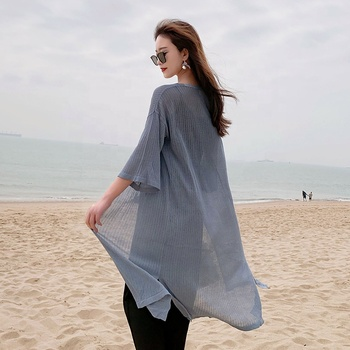 2019 sommer Mode Weibliche Stricken Lange Länge Halb Flare Hülse Nebel Blau Damen Strickjacken