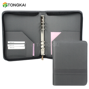 Fancy gray business 6 ring binder zipper leather portfolio binder with card holder
