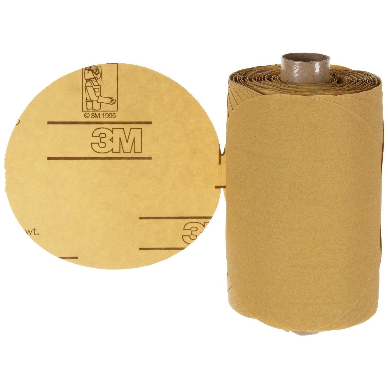 "3M Stikit Gold Paper Disc Roll 216U, Paper, PSA Attachment, Aluminum Oxide, 6"" Diameter, P80 Grit, Gold (Roll of 125)"