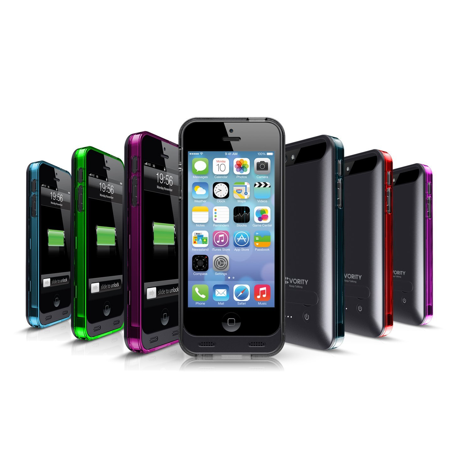 Vority X5S iPhone 5/5S Battery Charger Case [Black] Built-in 2400mAh Rechargeable External Back Up Power Bank - Low Profile & Slim Design/Landscape Kickstand, Includes 7 Colourful Bumper Frames: Blue, Red, Slate, Green, Smoke, Pink & Purple. Fit All Version of iPhone 5/iPhone 5S