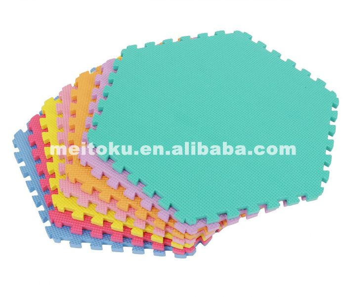Non Toxic Meitoku Colorful Hexagon Eva Plain Puzzle Mat