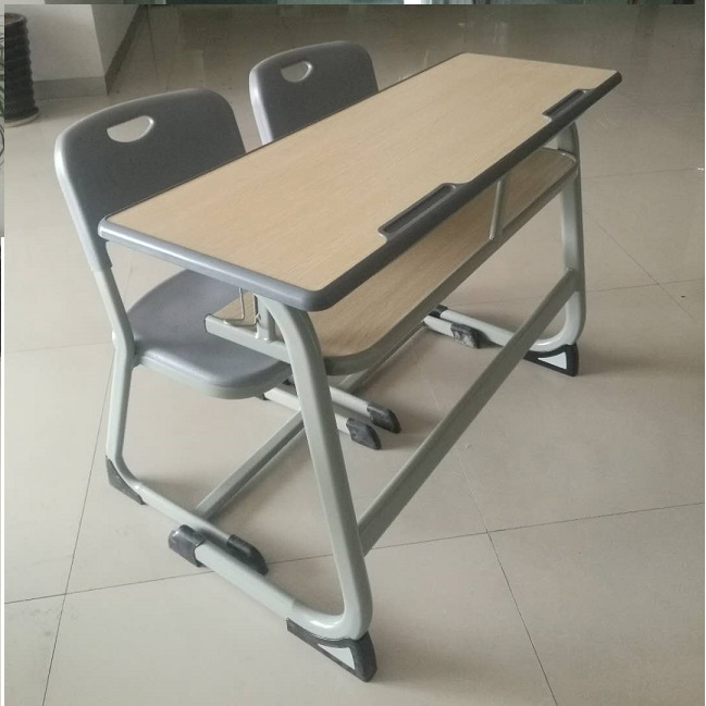 High quality Europe style standard classroom furniture comfortable double school desk and chair set school furniture