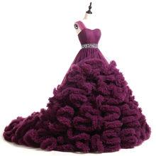 Роскошное Свадебное платье с длинным шлейфом и длинным шлейфом, реальное изображение, Пышное Бальное Платье на Одно Плечо, Vernassa 2020(China)