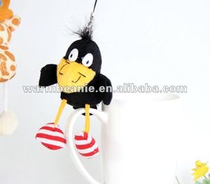 Plush 11 kinds long feet animals, Stuffed crow with scarf, keychain