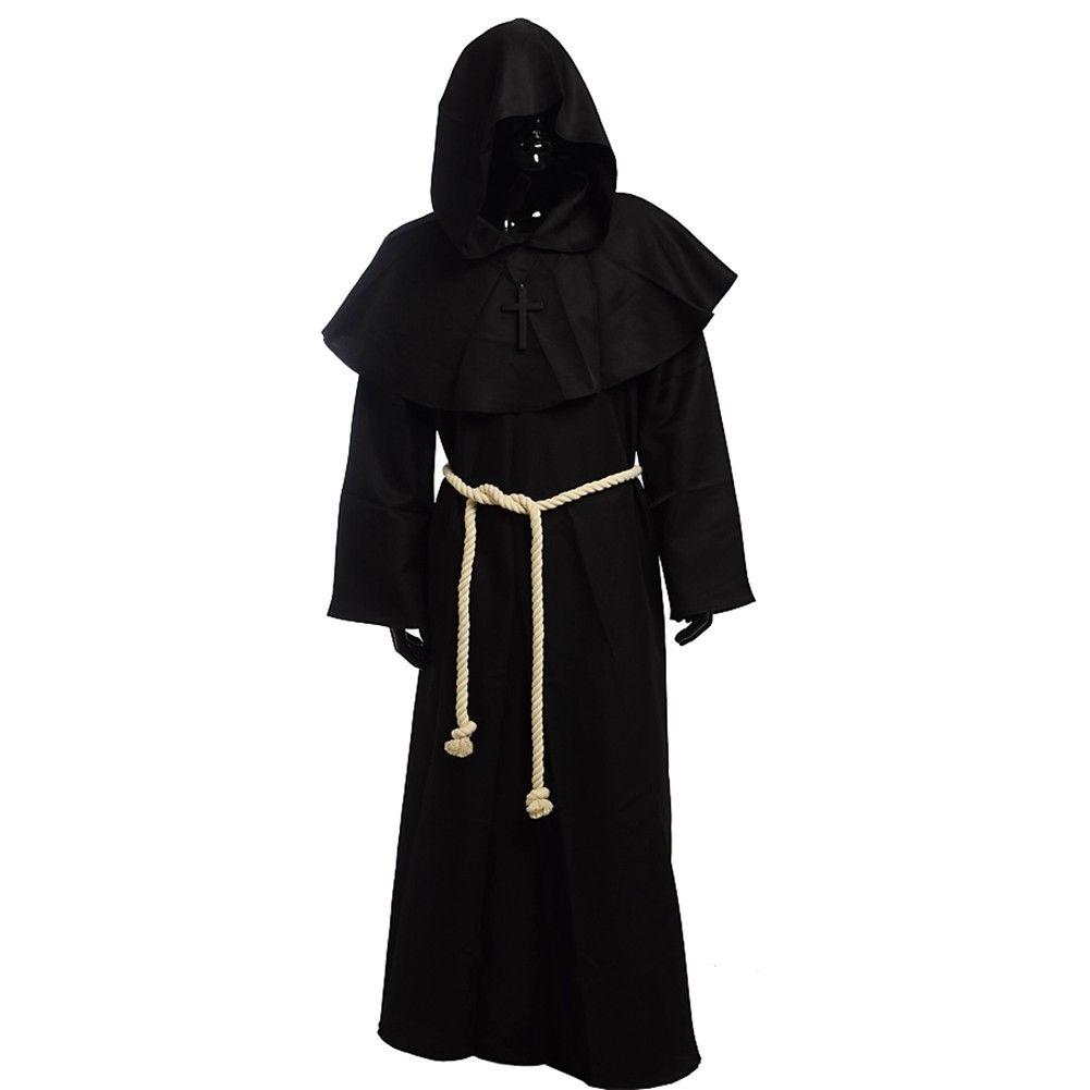 Hot Hooded Cloak Adult Costume Cape Renaissance Medieval Halloween Fancy Dress
