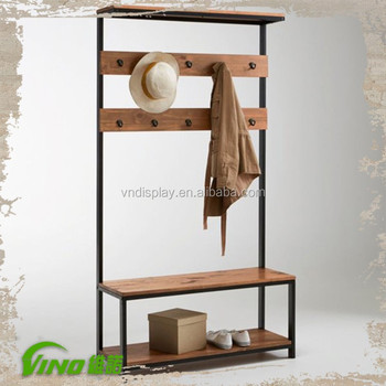 Rustic Tiers Wood Functional Cloth Display Shabby Chic Stand Hanging Hat Holder With