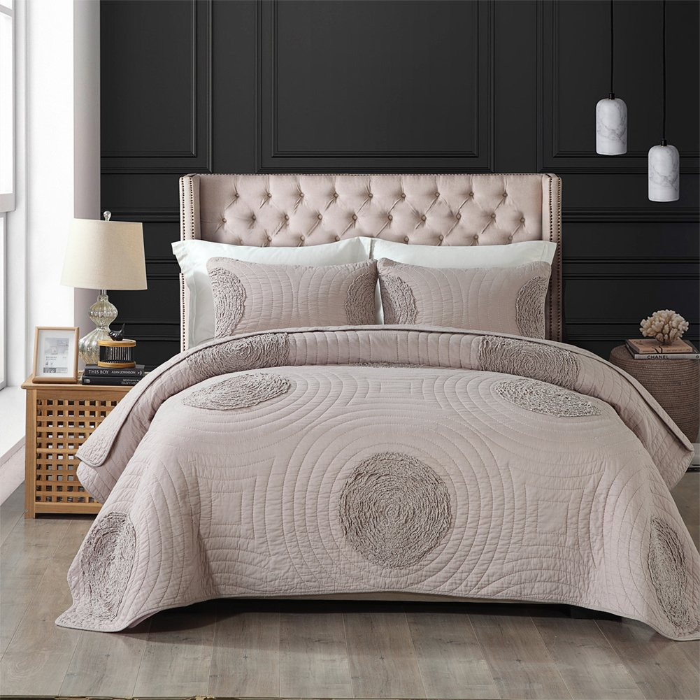 Quilts King Size Fl Pattern Patchwork Bedspread 100 Cotton Solid White Modern