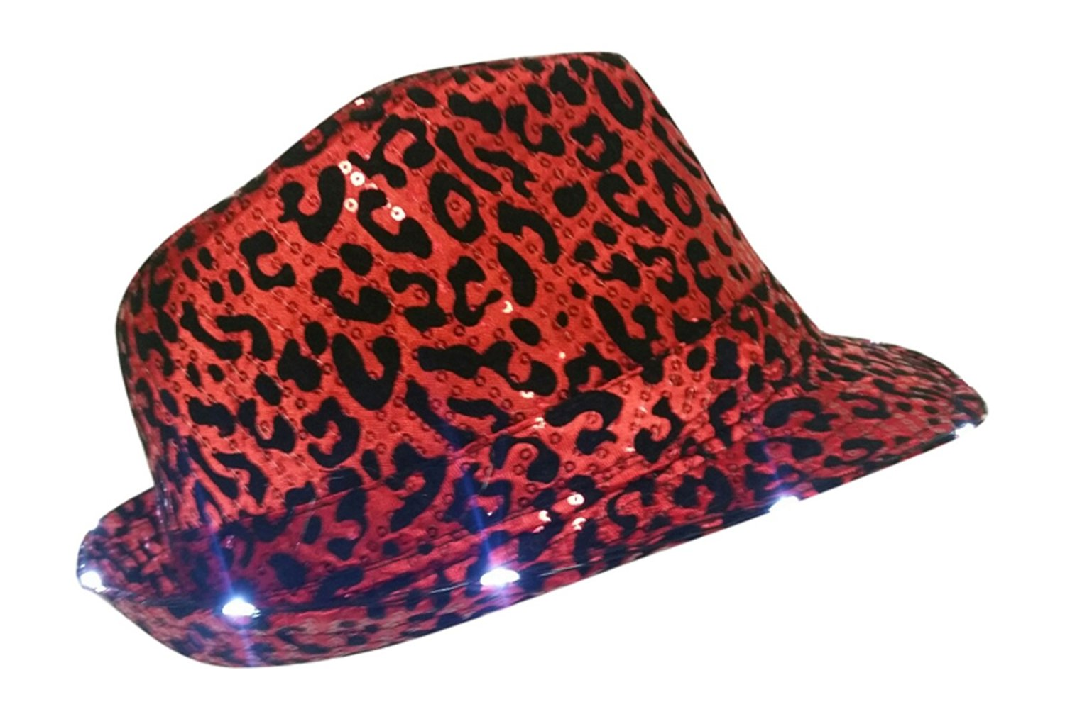 9824879c708 Buy Light Up Led Leopard Print Sequin Like Red Fedora Hat in Cheap ...