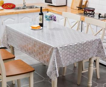 Silvery beautiful plastic printed tablecloth Plastic Lined Pe Tablecloth/Table Cover