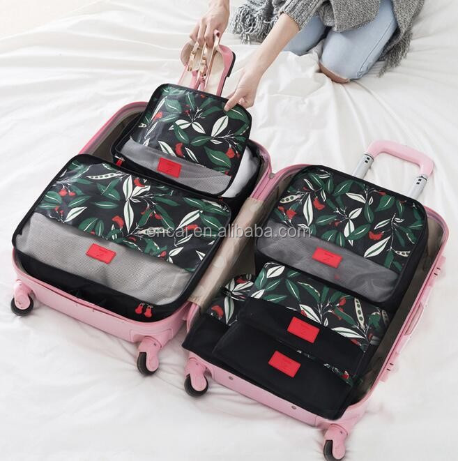 f3cee1c757fa Encai Travel Clothes Packing Cube Bags 6 In 1 Floral Print Luggage  Organizer Bag Set - Buy Encai Travel Clothes Packing Cube Bags 6 In 1  Floral Print ...