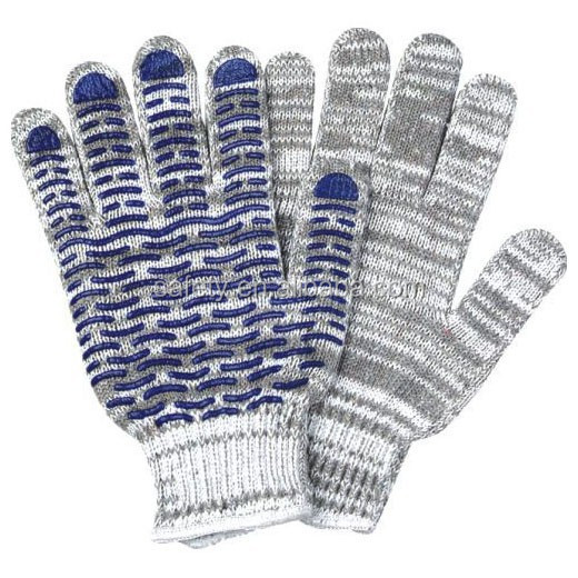 T/C bleached white string knit colored PVC dots safety glove anti-slip industrial working driving gloves