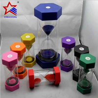 Hot selling products!Colorful Hexagonal 3 minute Plastic sand timer for Kids