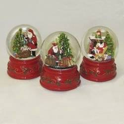 """Pack of 12 Assorted Wind-Up Musical Santa Claus Christmas Snow Water Globes 4"""""""