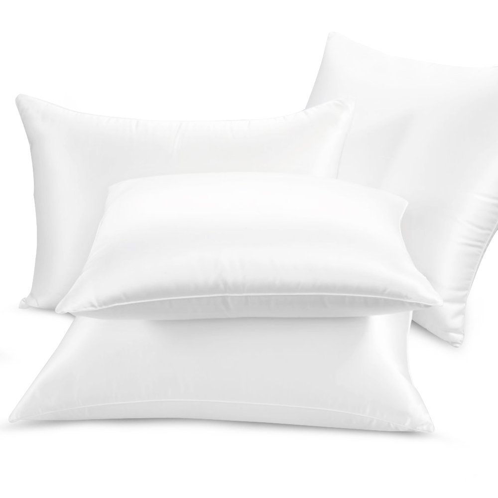 ElleSilk White Silk Filled and Silk Covered Pillow, 100% Pure Mulberry Silk, King Size, 1pc