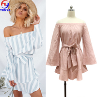2018 new boho style women off shoulder long sleeve linen striped print vintage maxi beach dress