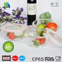 Borosilicate glass salad bowl glass food storage container with pp lids