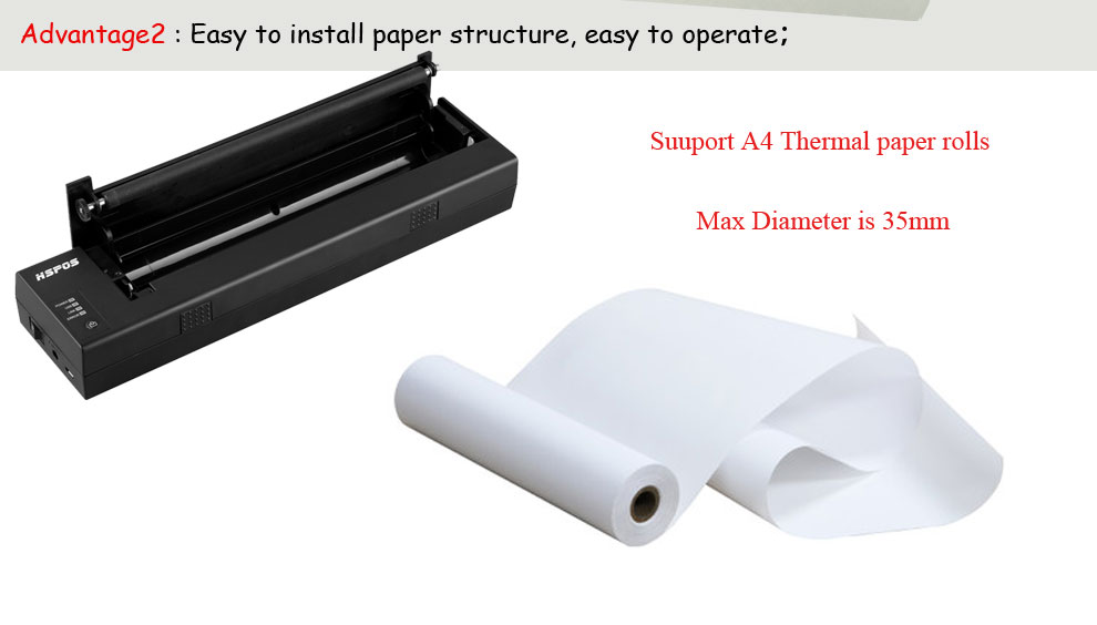 Mini portable A4 thermal printer with usb interface HS-A4