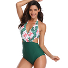 New Design Beach Print Floral V Neck One Piece High Waisted Swimsuit Women Sexy Bikini