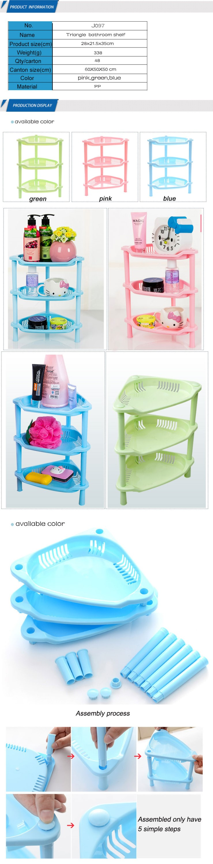 3 Layer Plastic Kitchen Rack Bathroom Storage Basket Shelf - Buy ...