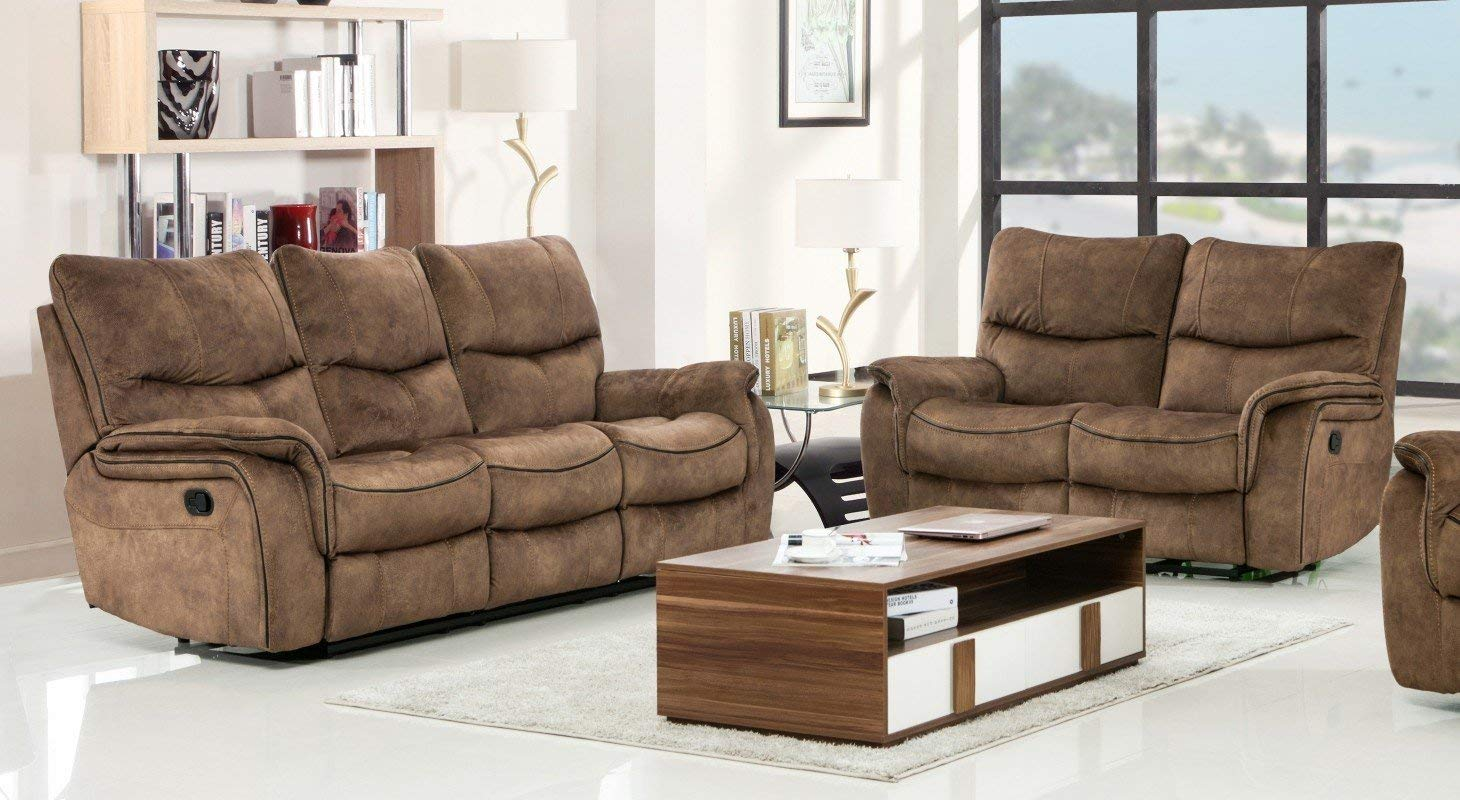 Blackjack Furniture 7167-LIGHT-BROWN-2PC Modern Sofa and Loveseat Set, Light Brown