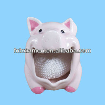 Ceramic Pink Pig Kitchen Scouring Pad Holder