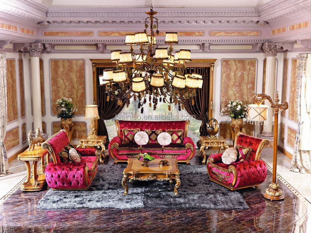Luxury Victorian Style Living Room Pink Fabric Sofa/European Queen Classic  Wood Carving Sofa/