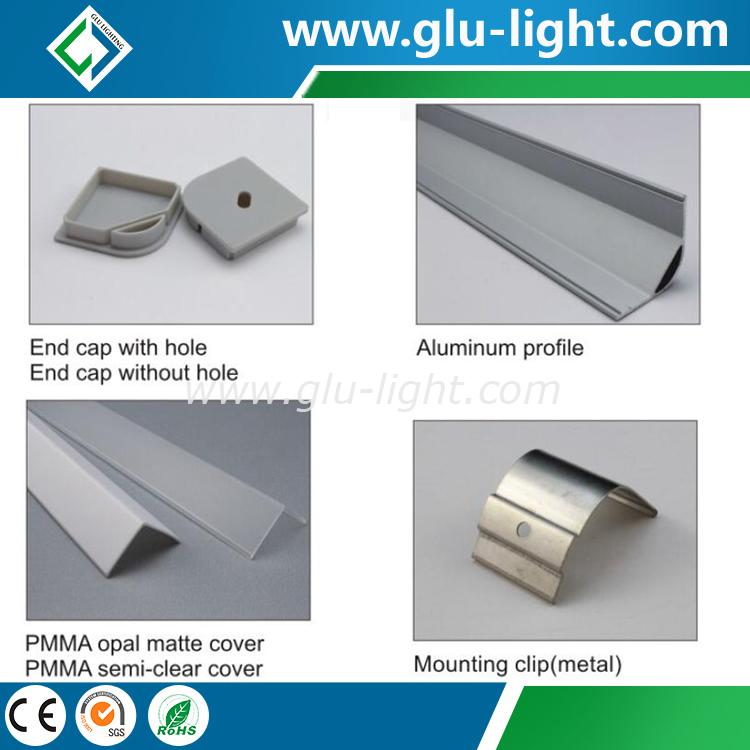 Aluminium-Eck-LED-Profil, 45 Grad lineares Eckaluminium führte Profil für geführten Streifen