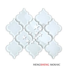 HSD203 Wholesale Super White Walls Decor Arabesque Glass Lantern Fish Scale Mosaic Tile Bathroom