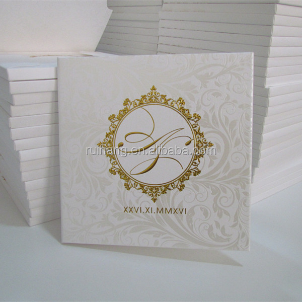 gorgeous hardcover book style invitation with embossed