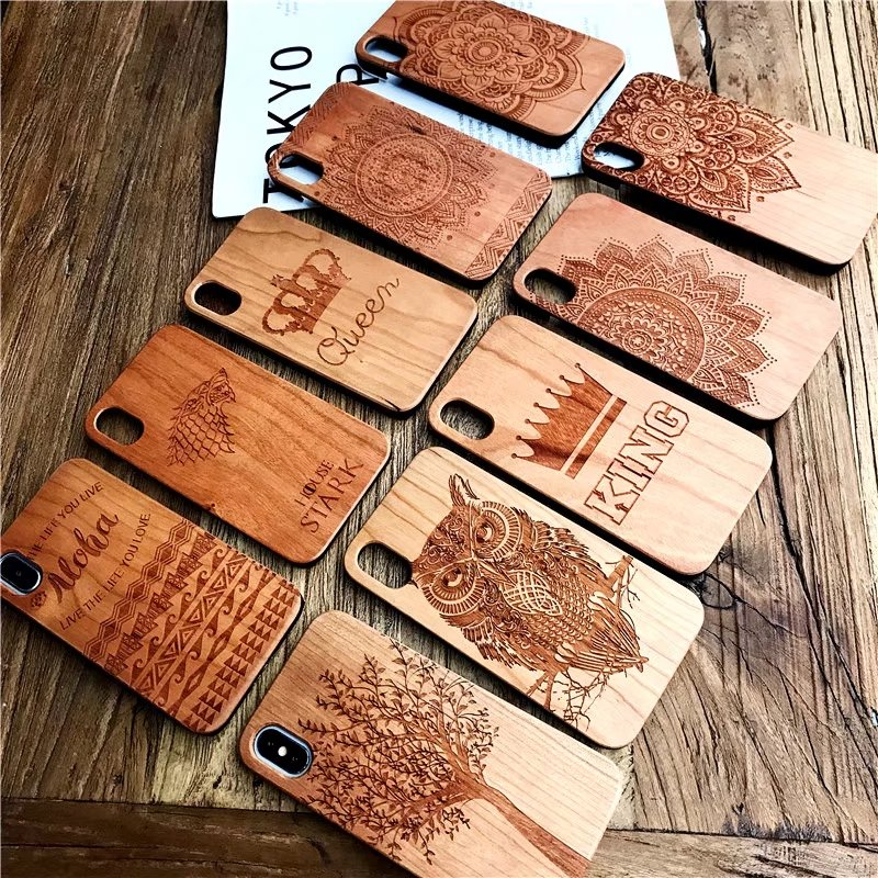 Custom Real Wood Cell Phone <strong>Case</strong> for iPhone/Samsung Laser Engraving Wooden Unique Shock Bamboo Phone Cover Shell for Huawei/Sony